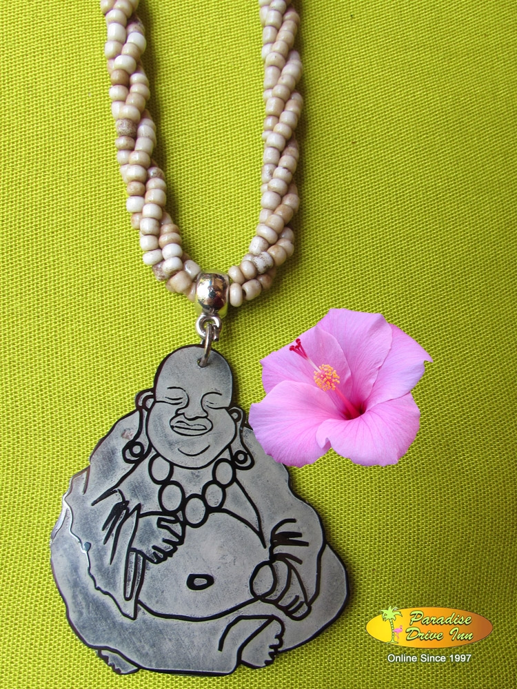 Bali Shell carved neklace, happy buddha with beads