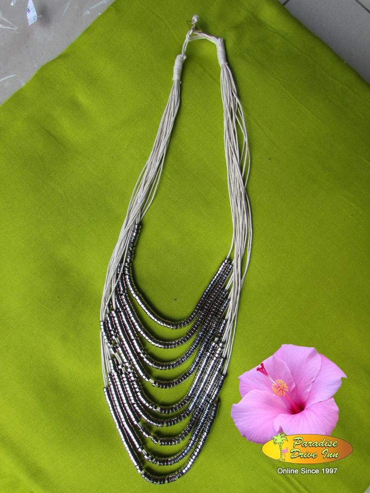 Bali Necklace, cotton string with silver beads