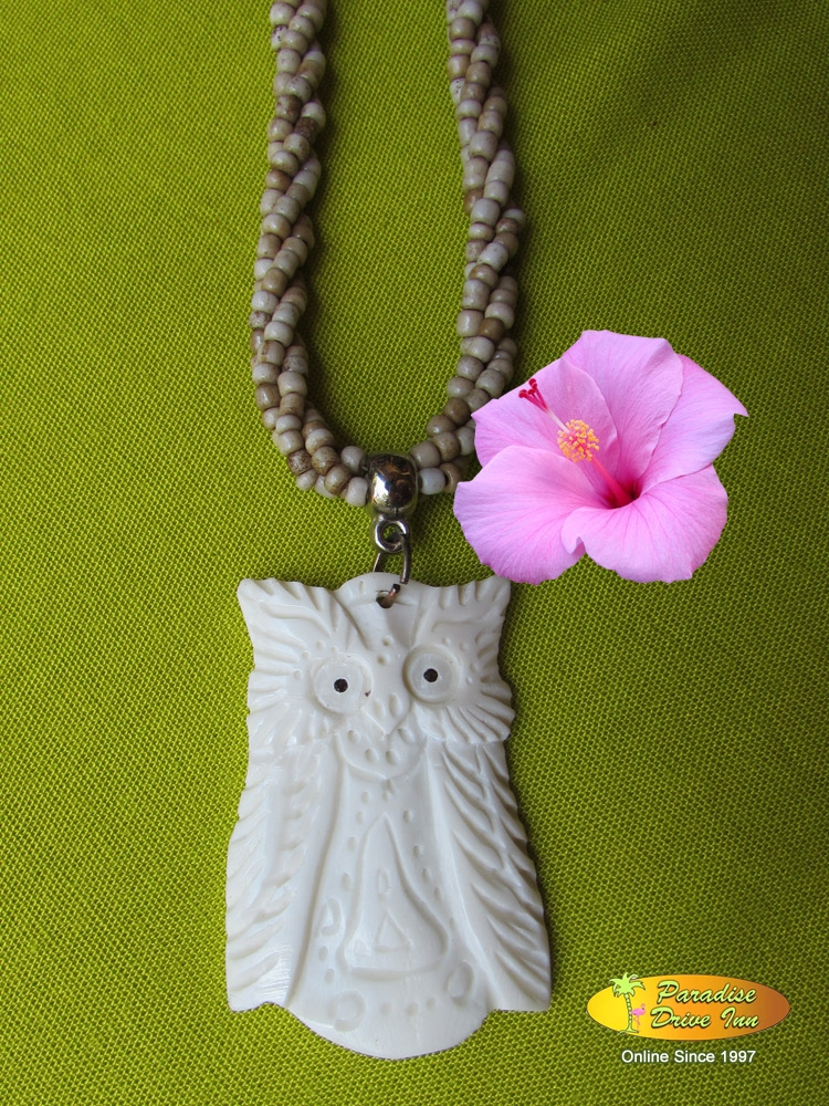 Bali Necklace, cotton string with bone carved & beads