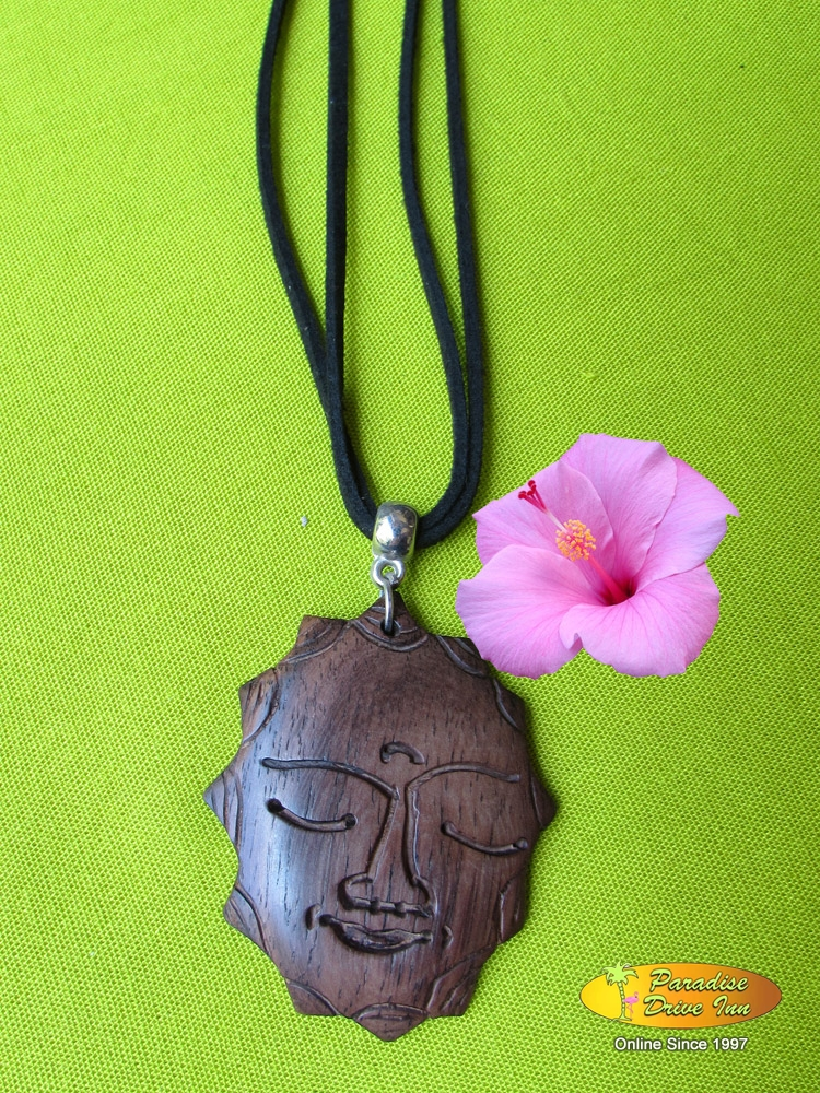 Bali Necklace, sono wood, buddha face