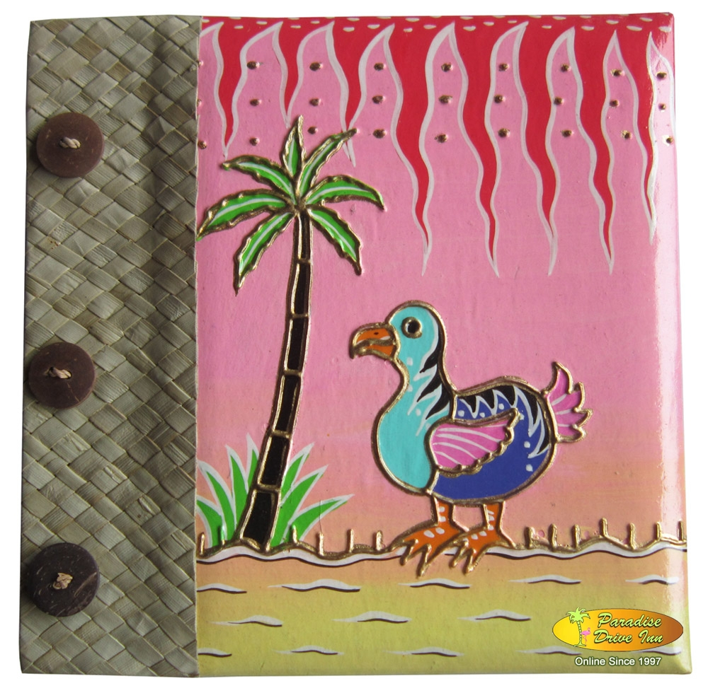 Bali Photo album, paper with pandan leaves, handpainting, funny duck