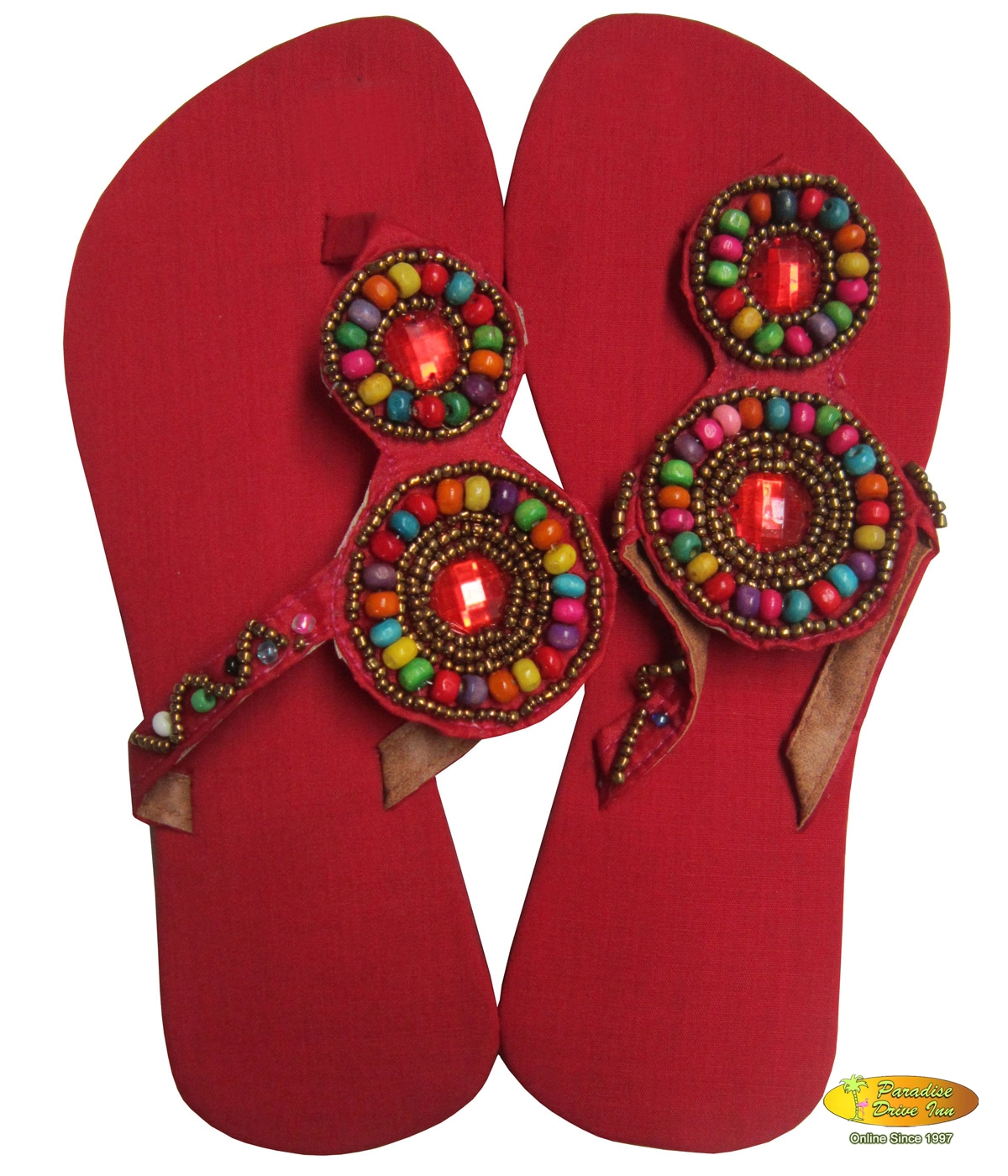 Bali Sandal, leather with glassbeads