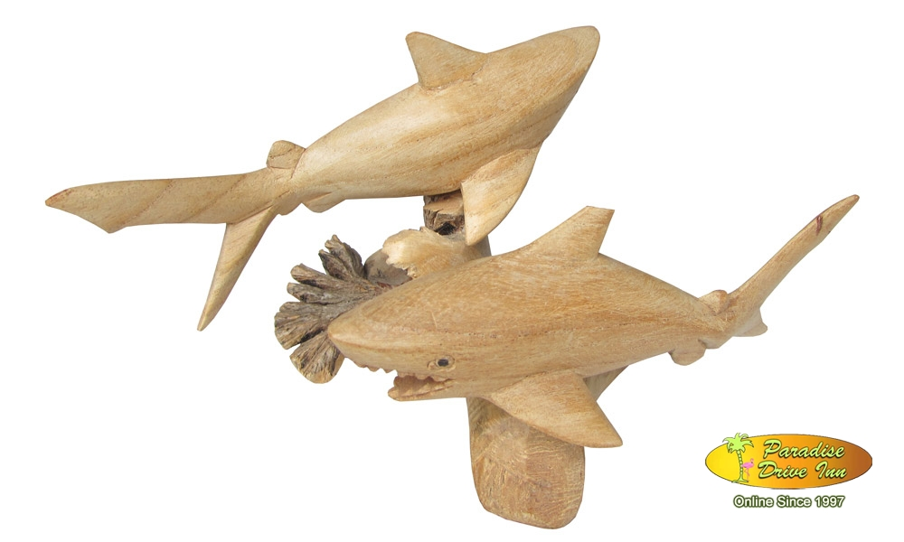 Bali Woodcarving, sealife, 2 sharks
