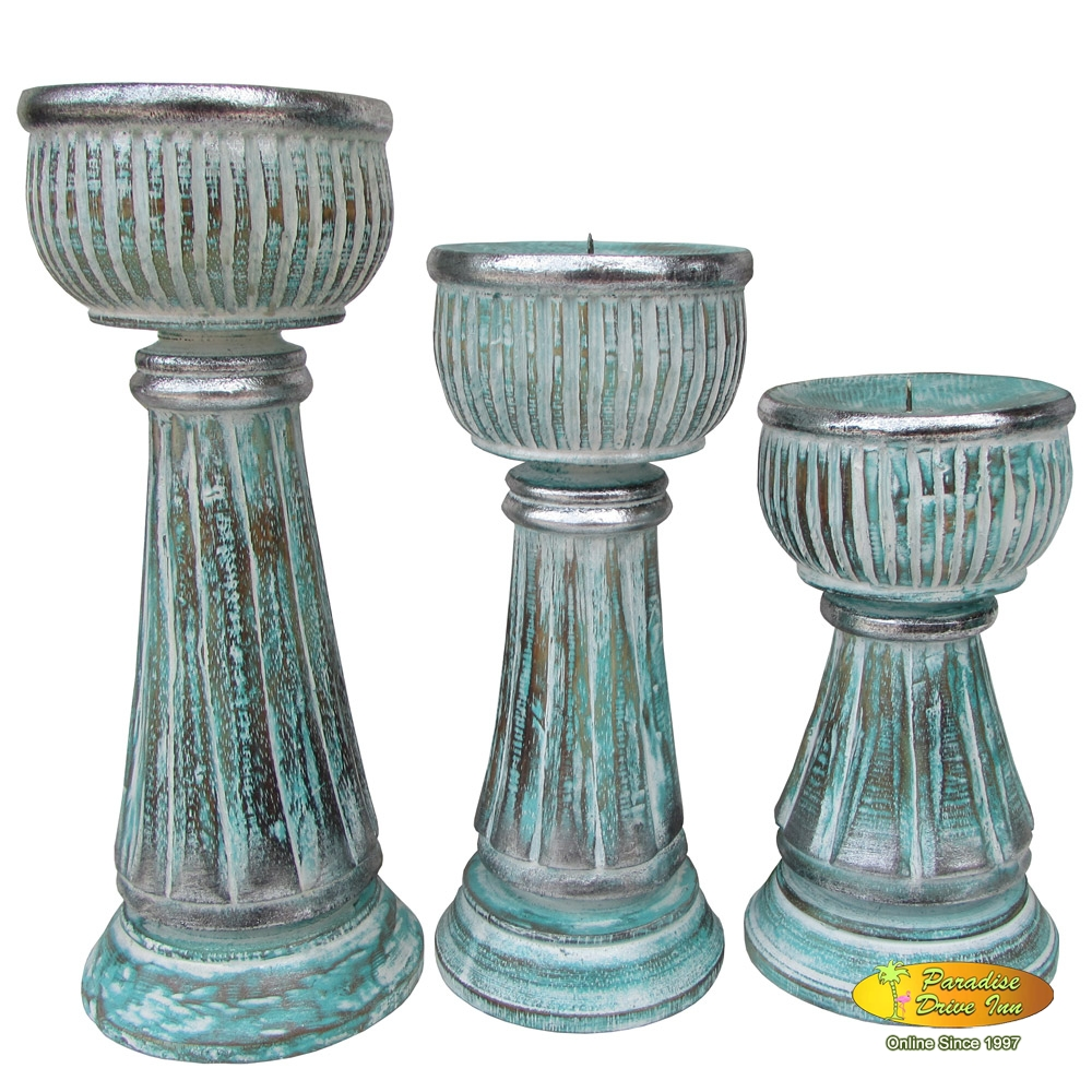 Bali Set of 3 wooden candle holder, handcarved & painting
