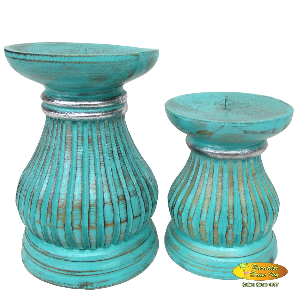 Bali Set of 2 wooden candle holder, handcarved & painting