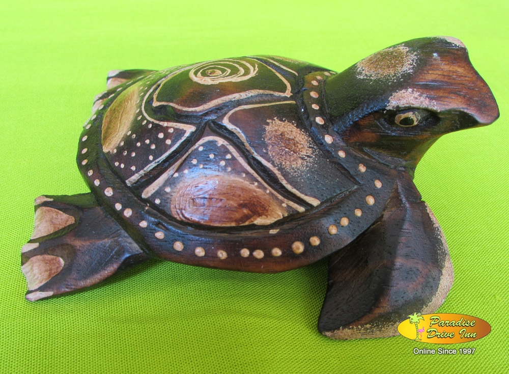 Bali Wood carving, turtle, handcarved & painting