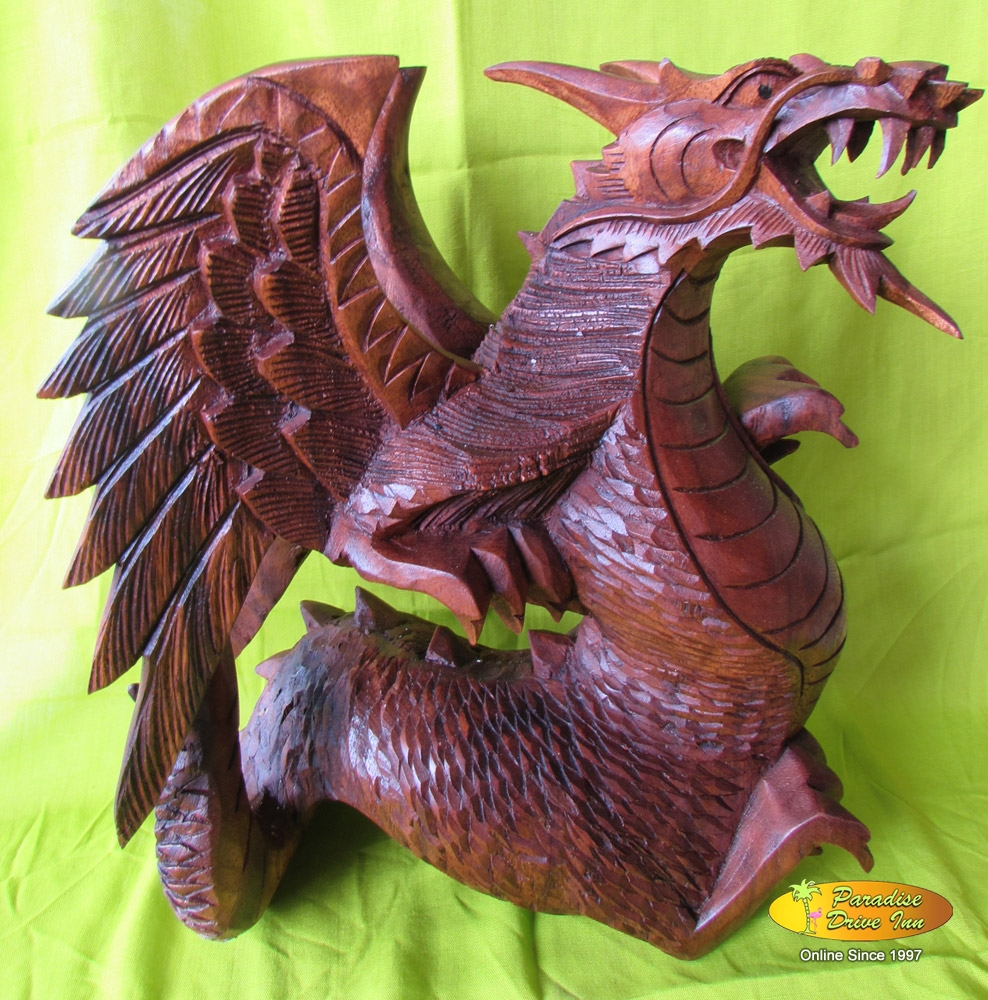 Bali Wood carving, dragon with wings