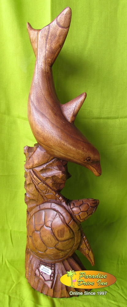 Bali Wood carving, dolphin with turtle